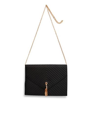 Embellished Shoulder Bag in Quilted Faux Leather,BLACK,large