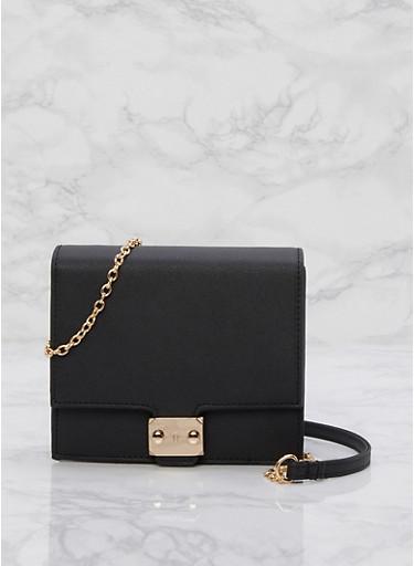 Mini Box Crossbody Bag,BLACK,large