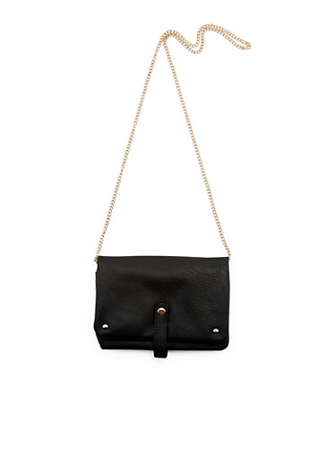 Foldover Crossbody Bag with Removable Strap,BLACK,large