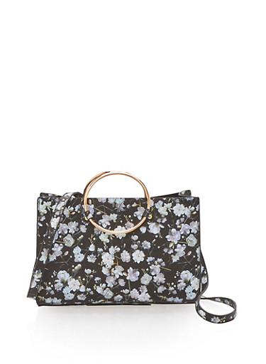 Floral Faux Leather Satchel with Metal Ring Handles,BLACK/FLORAL,large