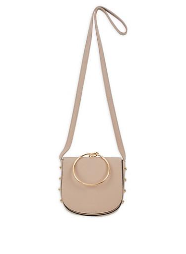 Faux Leather Studded Saddle Bag,NUDE/GOLD,large