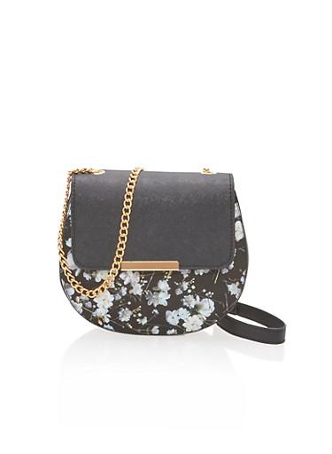 Floral Faux Leather Saddle Crossbody Bag,BLACK/FLORAL,large