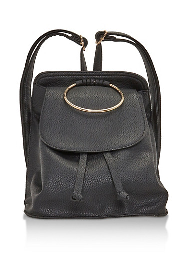 Faux Leather Mini Backpack with Metal Ring Detail,BLACK,large