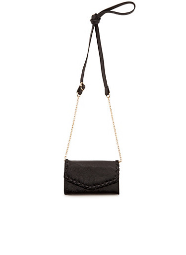 Mini Crossbody Bag with Stitched Detail,BLACK,large
