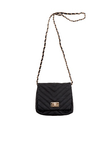 Crossbody Bag in Chevron Quilted Faux Leather,BLACK,large