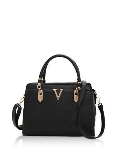 Embossed Faux Leather Satchel Bag with Metallic V Detail,BLACK,large