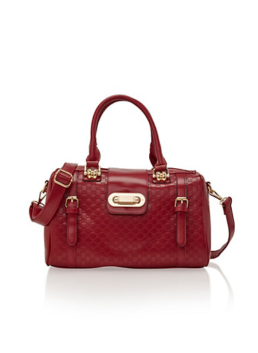 Embossed Faux Leather Satchel with Front Twist Lock,RED/GOLD,large