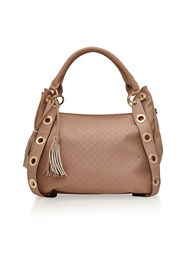 Embossed Faux Leather Shoulder Bag with Tassel Accent,BLUSH/GOLD,large
