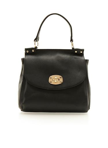 Large Satchel Bag in Faux Leather,BLACK,large