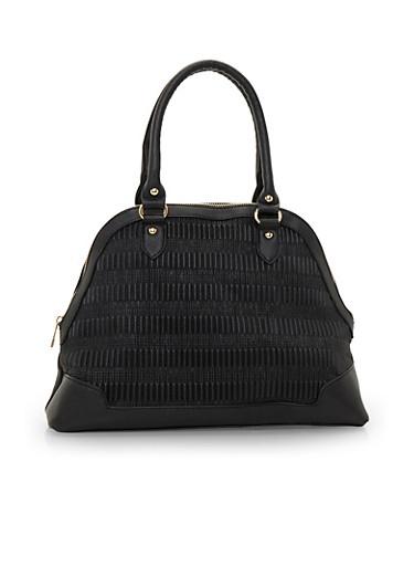 Curved Satchel Handbag,BLACK,large