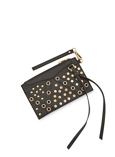 Faux Leather Wristlet with Grommet and Stud Detail,BLACK,large