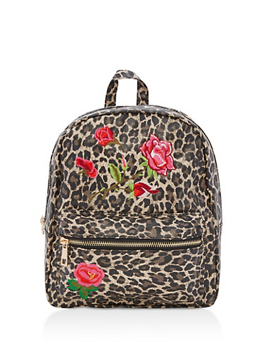 Leopard Floral Embroidery Backpack,LEOPARD PRINT,large