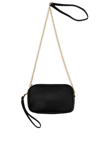 Double Zip Faux Leather Crossbody Bag,BLACK,large