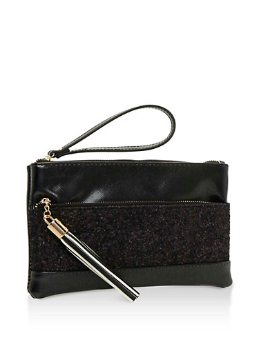 Double Zip Faux Leather Clutch with Glitter Accent,BLACK,large