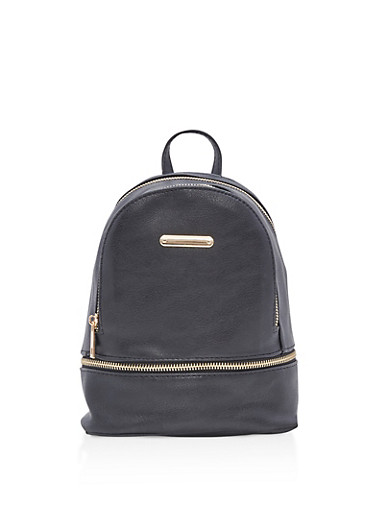 Small Faux Leather Backpack,BLACK,large