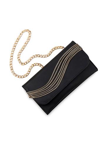 Zipper Hardware Chain Strap Bag,BLACK,large