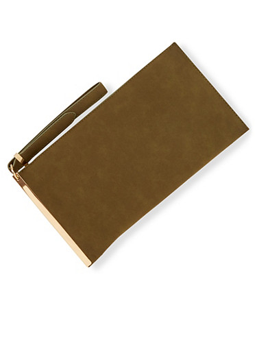 Faux Suede Clutch with Metal Trim,OLIVE,large