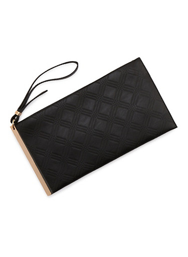 Clutch in Embossed Faux Leather,BLACK,large