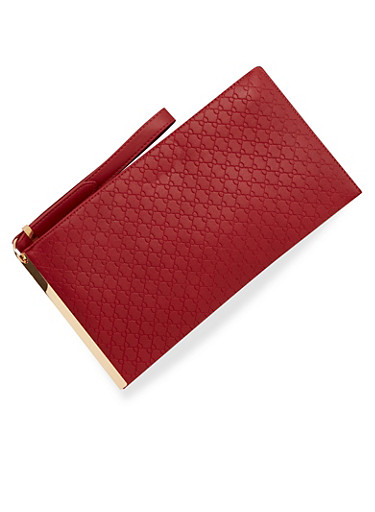 Embossed Faux Leather Clutch with Wristlet Strap,BURGUNDY,large