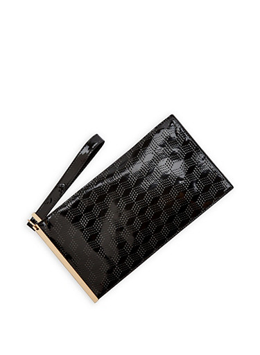 Faux Patent Leather Chevron Clutch,BLACK,large