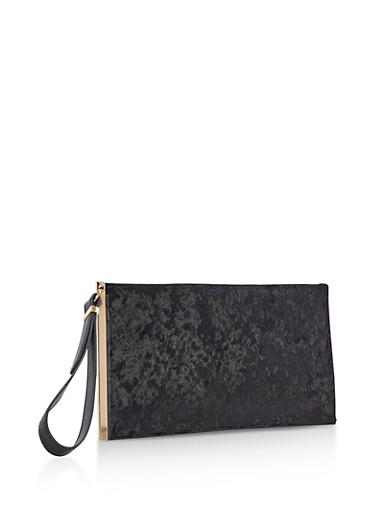 Crushed Velvet Clutch with Wrist Strap,BLACK,large