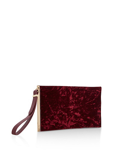 Crushed Velvet Clutch with Wrist Strap,WINE,large