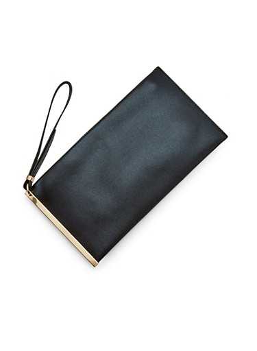 Metallic Faux Leather Clutch with Wristlet Strap,BLACK,large