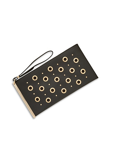 Faux Leather Clutch with Grommet and Stud Detailing,BLACK/GOLD,large