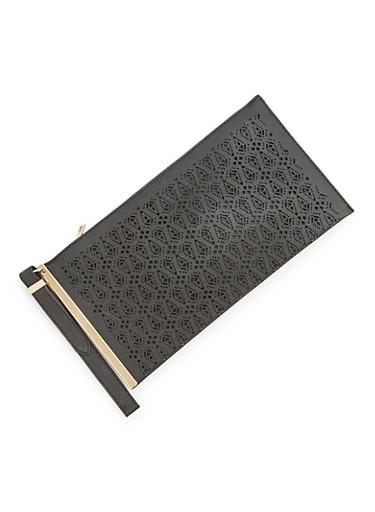 Oversized Clutch in Lasercut Faux Leather,BLACK,large