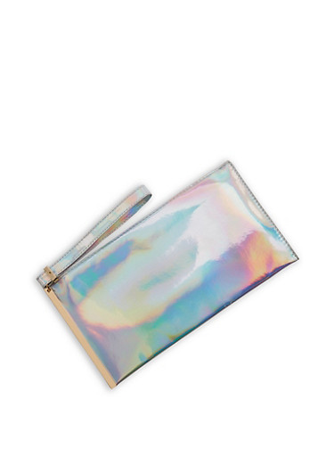 Holographic Clutch with Wrist Strap,SILVER,large