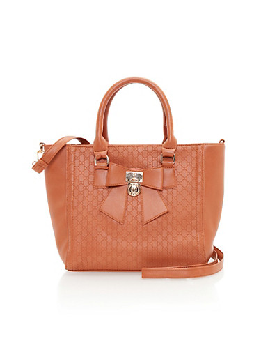 Embossed Faux Leather Satchel with Bow Accent,COGNAC,large