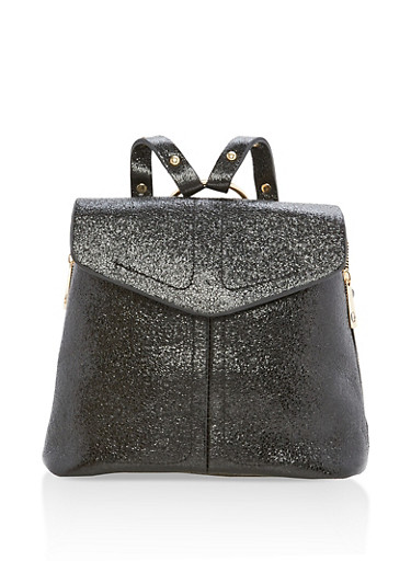 Glitter Zipper Backpack,BLACK,large