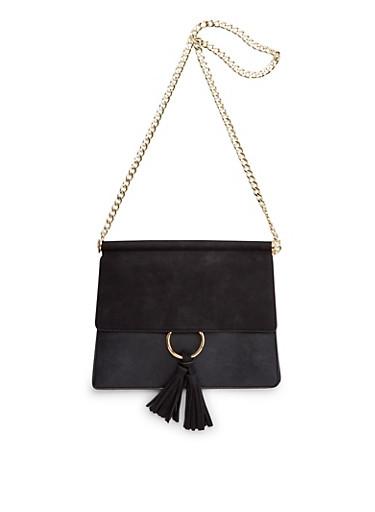 Chain Strap Shoulder Bag with Tassel,BLACK/BLACK,large