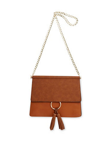 Chain Strap Shoulder Bag with Tassel,COGNAC/COGNAC,large