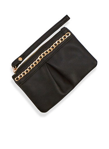 Small Faux Leather Wristlet,BLACK,large