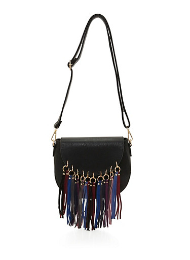 Faux Leather Crossbody Bag with Faux Suede Fringe,BLACK,large