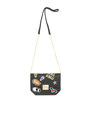 Crossbody Bag with Patches,BLACK,large