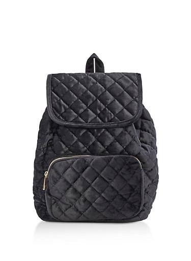 Quilted Velvet Backpack,BLACK,large