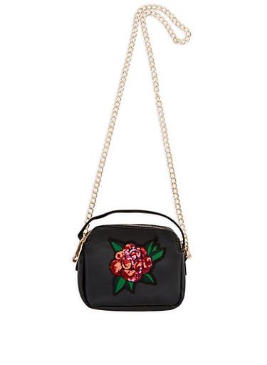 Double Zip Crossbody Bag with Sequin Floral Applique,BLACK,large