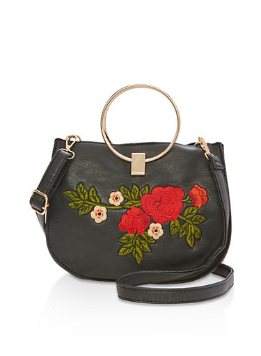 Double Ring Faux Leather Embroidered Saddle Bag,BLACK/RED,large