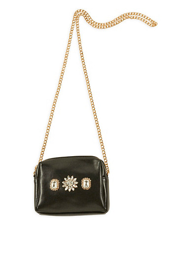 Mini Faux Leather Jeweled Crossbody Bag,BLACK,large