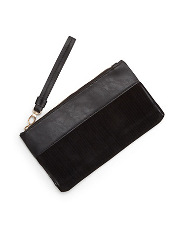 Faux Leather Clutch with Faux Suede Stripe Appliques,BLACK,large
