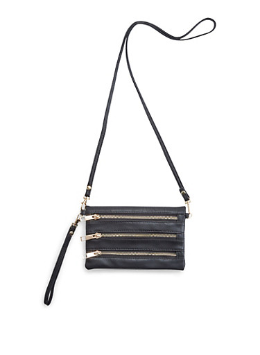 Convertible Crossbody Bag with Zipper Accents,BLACK,large