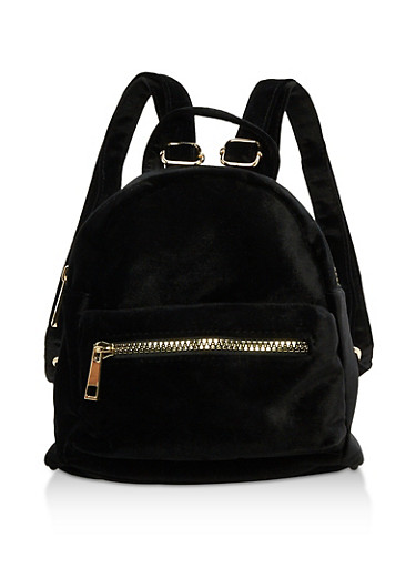 Mini Zip Backpack,BLACK VELVET,large