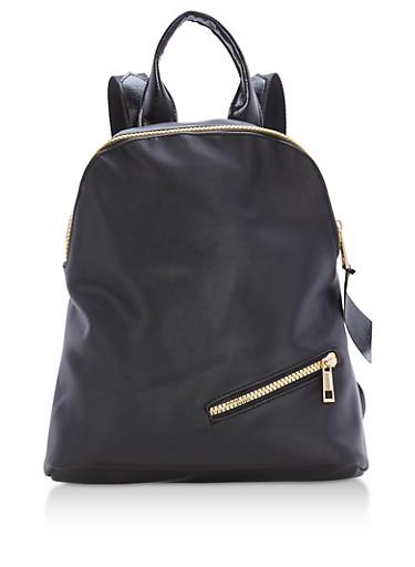 Nylon Backpack with Zipper Details,BLACK/GOLD,large