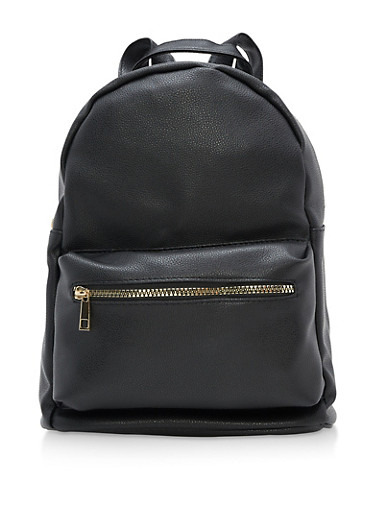 Faux Textured Leather Backpack,BLACK,large