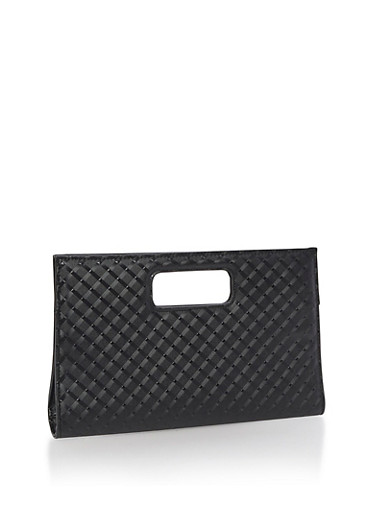 Textured Clutch with Cutout Handles,BLACK,large