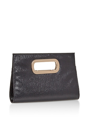 Faux Leather Metal Handle Clutch,BLACK,large