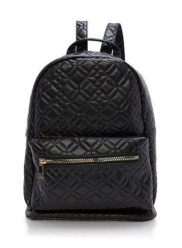 Quilted Faux Lether Backpack,BLACK,large