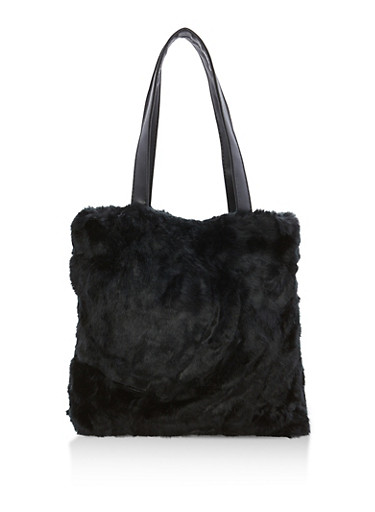 Faux Fur Tote Bag,BLACK,large